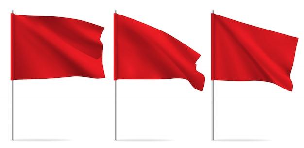 Czerwona czysta pozioma macha flagą szablonu.