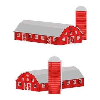 Czerwona drewniana stodoła i silos do przechowywania ziarna w widoku izometrycznym