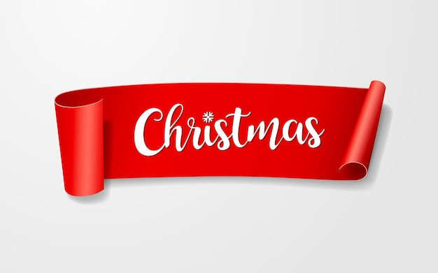 Czerwona etykieta na rolce papieru, wesołych świąt