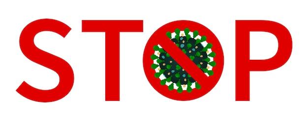 Czerwona etykieta stop koronawirusa ze skrzyżowanymi zielonymi covid 19