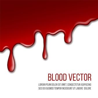 Czerwona farba kapie na białym tle. realistyczna płynąca krew spada z góry obrazu. plama. ilustracja wektorowa z copyspace dla twoich słów