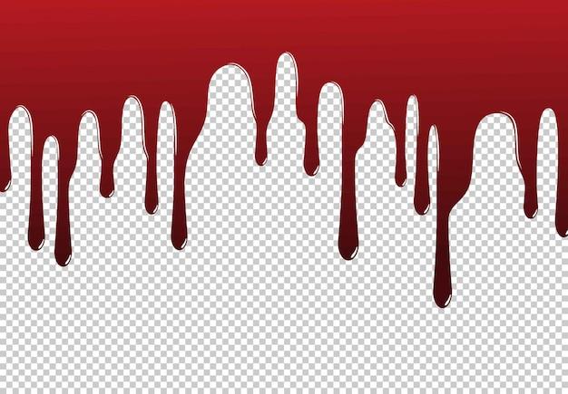Czerwona farba kapie na białym tle