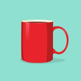Czerwona filiżanka lub kubek kawy lub herbaty na białym tle na niebieskim tle