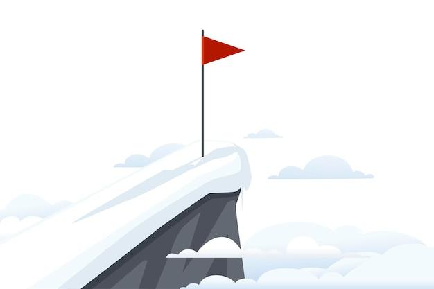 Czerwona flaga na śnieżny szczyt z chmurami krajobraz ilustracji wektorowych płaski.