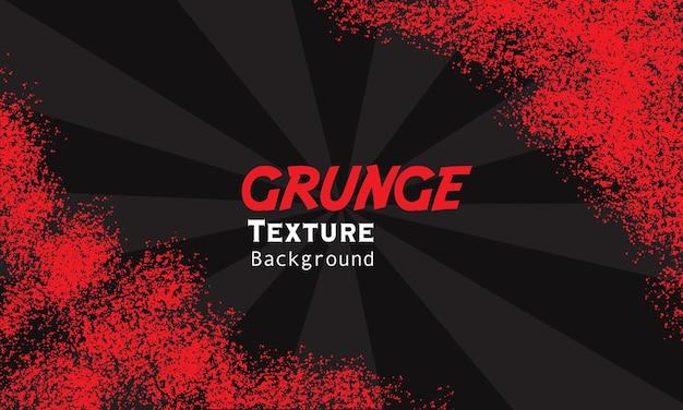 Czerwona granica grunge z tłem sunburst