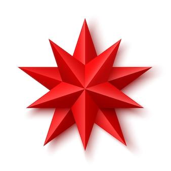 Czerwona gwiazda betlejemska na białym tle.