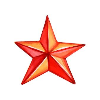 Czerwona gwiazda bożego narodzenia na białym tle akwarela ilustracji wektorowych