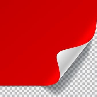 Czerwona i biała kartka papieru z zakrzywionym rogiem i cieniem na przezroczystym tle. przezroczystość tylko w formacie wektorowym