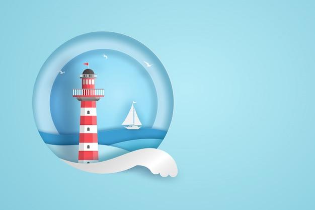 Czerwona i biała latarnia morska w okrąg ramie z błękitnym morzem, chmurami, ptakami i łodzią. koncepcja sztuki papieru wektor.