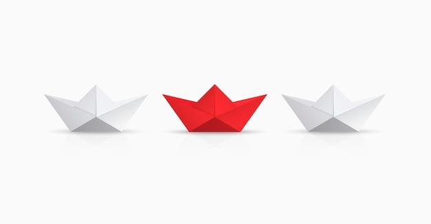 Czerwona i biała origami łódź