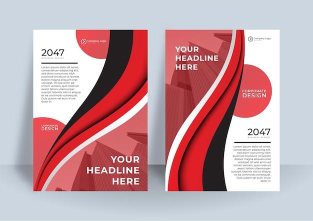 Czerwona i czarna okładka szablon projektu książki biznesowej. nowoczesny projekt raportu rocznego