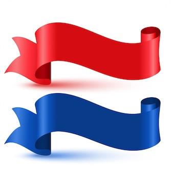Czerwona i niebieska wstążka flagi 3d