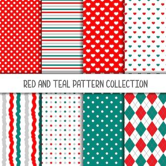 Czerwona i turkusowa kolekcja bez szwu wzorów