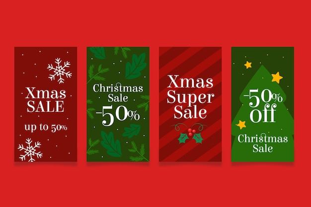 Czerwona i zielona świąteczna super instagramowa historia sprzedaży