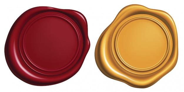 Czerwona i złota pieczęć woskowa