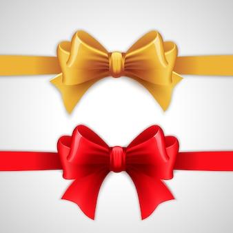 Czerwona i złota wstążka wakacyjna z kokardą