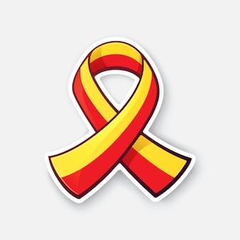 Czerwona i żółta wstążka symbol światowego dnia zapalenia wątroby ilustracji wektorowych