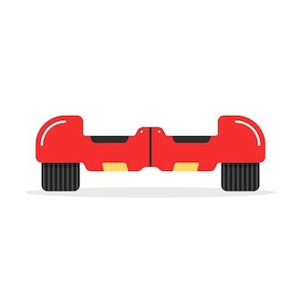 Czerwona ikona deskorolki z cieniem. koncepcja innowacji, sport, żyroskop, opona, ruch uliczny, maszyna, gadżet. na białym tle. płaski styl trend logo projektowania ilustracji wektorowych