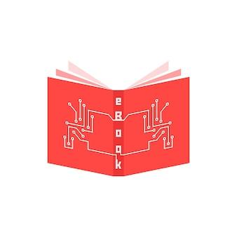 Czerwona ikona ebooka z elementami pcb. koncepcja czytnika, tabletu, e-learningu, gadżetu, prasy periodycznej, szkolenia. na białym tle. płaski trend w nowoczesnym stylu projektowania ilustracji wektorowych