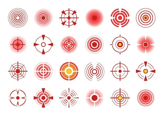 Czerwona ikona koła bólu, bolesne miejsca na ciele. symbol wskazania rannych stawów lub mięśni, znak punktu bólu i zestaw elementów docelowych bólu. reklama leku przeciwbólowego, ukierunkowanego środka