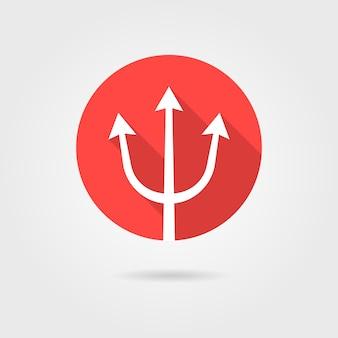 Czerwona ikona trójząb z długim cieniem. pojęcie lancy, oceanu, siły, niebezpiecznego, uzbrojenia, boga morza. na białym tle na szarym tle. płaski trend w nowoczesnym stylu projektowania ilustracji wektorowych