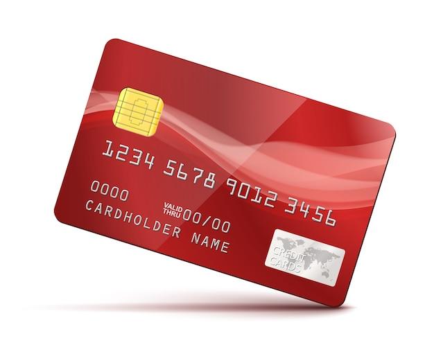 Czerwona karta kredytowa na białym tle