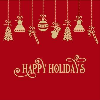 Czerwona kartka bożonarodzeniowa z gloden małymi symbolami