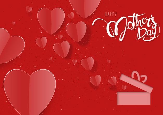 Czerwona kartka z życzeniami na dzień matki z papierowymi sercami
