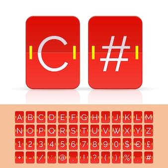 Czerwona klapka tablica wyników alfabet, cyfry i simbols. wektor eps10