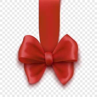 Czerwona kokarda świąteczna na przezroczystym