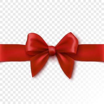 Czerwona kokarda świąteczna wstążka do pakowania dla ilustracji pudełko na prezent