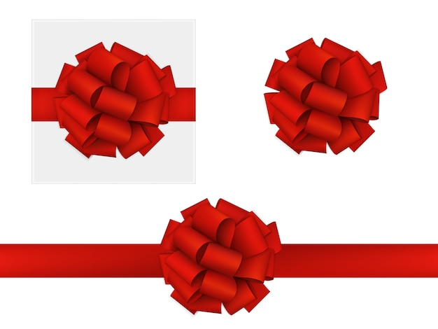 Czerwona kokarda wykonana ze wstążki