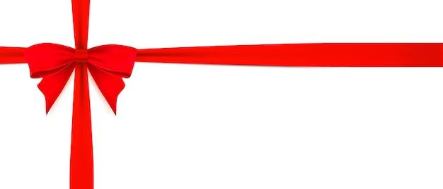 Czerwona kokarda ze wstążką na poziomej białej pustej stronie wektor realistyczny szablon projektu karty podarunkowej