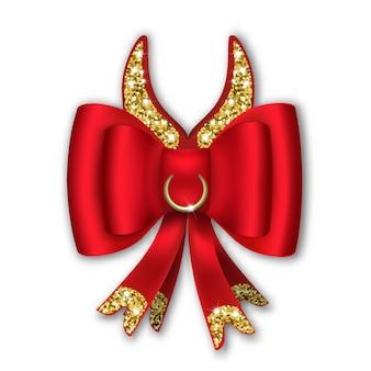 Czerwona kokarda ze wstążkami i komiksowymi rogami. rok byka jest zgodny z kalendarzem chińskim.