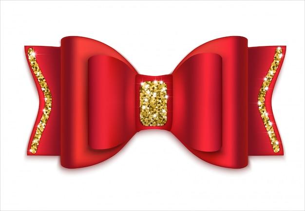 Czerwona kokarda ze złotym dekorem. dekoracja świąteczna. odosobniony