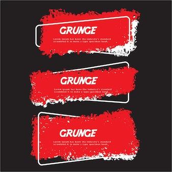 Czerwona kolekcja etykiet grunge