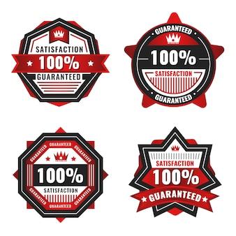 Czerwona kolekcja etykiet ze 100% gwarancją