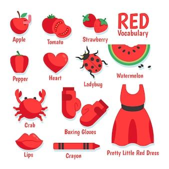 Czerwona kolekcja słów i elementów w języku angielskim