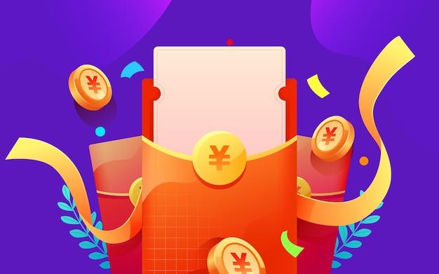 Czerwona koperta złota moneta