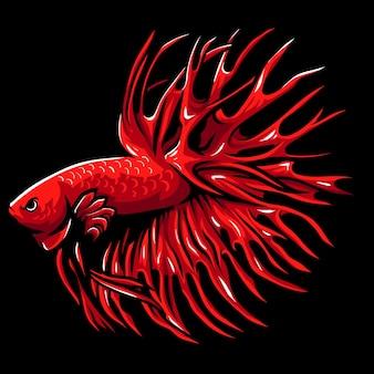 Czerwona korona ogon maskotka ryby betta.