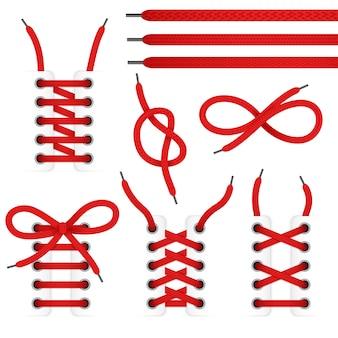 Czerwona koronka buty ikona zestaw z wiązanej i niewiązanej sznurowadła na białym tle