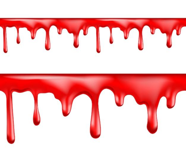 Czerwona krew kapie zestaw ilustracji