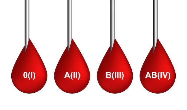 Czerwona krew spada ikony lub kolekcja symboli krwawienia na białym tle. realistyczna ilustracja 3d kapania szkarłatu, kapie lub kropelek