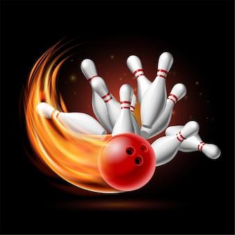 Czerwona kula do kręgli w płomieniach rozbijając się o szpilki na ciemnym tle. ilustracja strajku kręgli. szablon wektor plakat zawodów sportowych lub turnieju.