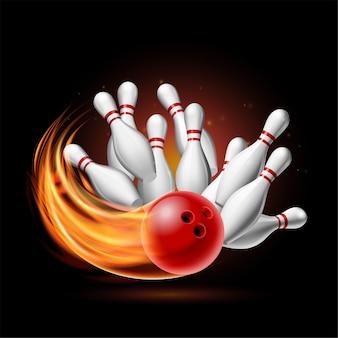 Czerwona kula do kręgli w płomieniach uderzająca w szpilki na ciemnym tle. ilustracja strajku w kręgle. szablon plakatu zawodów sportowych lub turnieju.