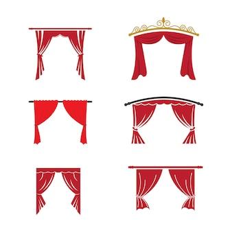 Czerwona kurtyna gzyms wystrój tkanina domowa wnętrze draperia tekstylny lambrekin, ilustracja wektorowa curtaine