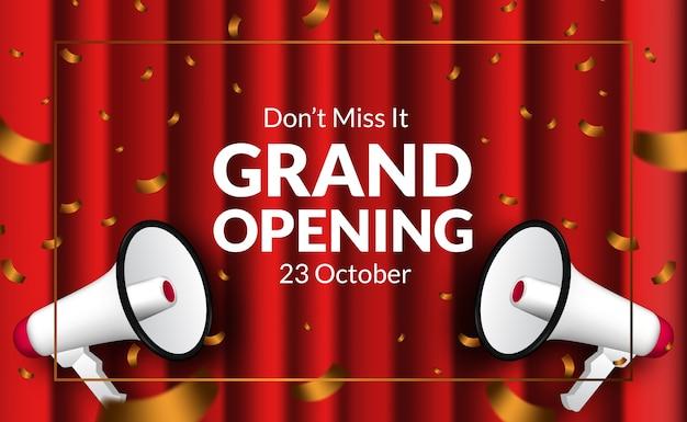 Czerwona kurtyna i złote konfetti luksusowe zaproszenie na wielką kartę otwarcia z megafonem. szablon transparent plakat