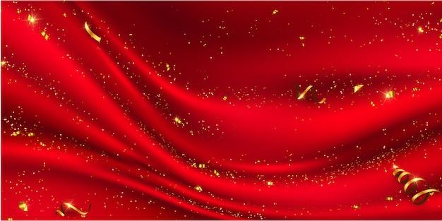 Czerwona kurtyna. konfetti złote wstążki. luksusowy baner