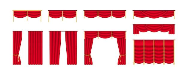 Czerwona kurtyna na scenę teatralną. granice sceny kinowej i teatralnej, realistyczna draperia z aksamitu do dekoracji wnętrz. ilustracja wektorowa na białym tle. ustaw luksusowe zasłony
