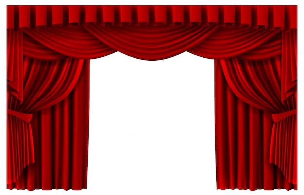 Czerwona kurtyna sceniczna. realistyczne tło sceny teatralnej, zasłony kinowe premiera portiere, ilustracja szablonu zasłon rumianych ceremonii. premiera z czerwoną kurtyną, realistyczne wejście na scenę